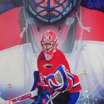 "Item No. 44 Patrick Roy Goalie, Montreal Canadiens Con Smite Winner Stanley Cup Winner 24""x36"" Framed Original Painting Prints Available"