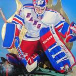 "Item No. 42 Mike Richter, New York Rangers Stanley Cup Winner 24"" x 36"" Framed Original Painting  Prints Available"